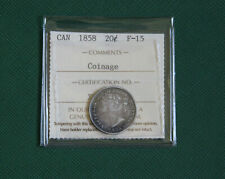 ICCS GRADED CANADIAN  CANADA SILVER COIN  1858  20 CENT  FINE15