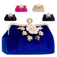 Ladies Velvet Pearl Clasp Diamante Pearl Flower Floral Clutch Bag Handbag KJ2236