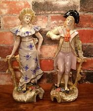 Dresden Styled Porcelain Pair of Lady & Gentleman Statue Figurines