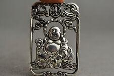 China Collectible Handwork Old miao silver carving Maitreya Buddha pendant
