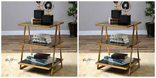 TWO ANTIQUED GOLD LEAF METAL &  BLACK GLASS MODERN ACCENT END TABLE THREE SHELF