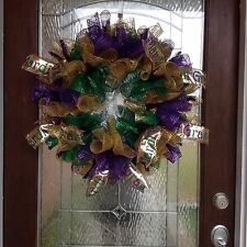 "Mardi Gras Deco Mesh Door Wreath "" FREE SHIPPING """