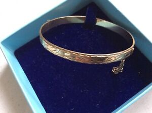 Vintage 9ct Rolled Gold Engraved Bangle With Safety Chain