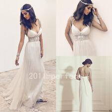 Vintage Beading Beach Wedding Dress White/Ivory Beaded Bridal Gowns Dress Custom