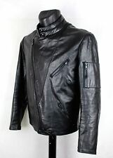 Mens Vintage Angora Racing Cafe Racer Motorcycle Leather Jacket S Small 38