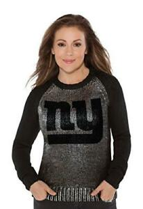 NFL Team Apparel Touch Alyssa Milano Shine On Sweater,New York Giants,Large