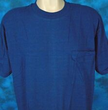 NOS vintage 80s BLANK NAVY BLUE FRUIT OF THE LOOM POCKET T-Shirt XL soft thin