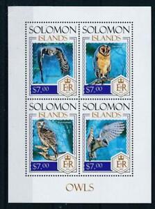 SOLOMON ISLAND 1974 OWLS BIRDS OF PREY STAMPS SOUVENIR SHEET MNH TOP174