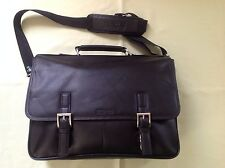 NWT KENNETH COLE BUSINESS ACCESSORIES LEATHER CASE IN BLACK