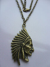 A Bronze Tone Native American / Indian Chief  Charm Pendant Chain Necklace