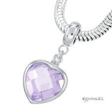 Sterling Silver Lavender CZ Heart Charm Stopper Fit European Bracelet #94252