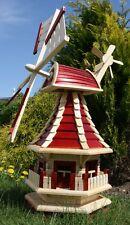 Holzwindmühle mit Solar rot/natur Typ 2