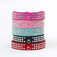 Nuevo 3 filas de cristal de diamante de imitación de gamuza de cuero collar de perro Diamante Mascota Collar S, M, L