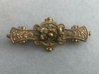Antique Bar Brooch Gold Tone Brass Metal Flower Floral Victorian Jewellery