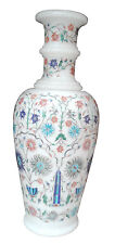 """12"""" White Marble Flower Vase Micro Mosaic Inlay Marquetry Work Table Decor H1852"""