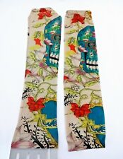 Tattoo Sleeves Set Of 2 Arm Stockings Blue Skull Red Flower Halloween Costume