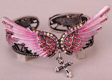 Wings cross stretch bracelet women biker jewelry D02 matching necklace AVBL US