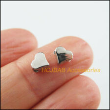 180 New Tiny Heart Spacer Beads Charms Acrylic Dull Silver Plated 6mm