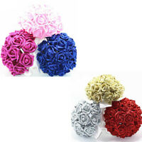 Crystal Roses Pearl Bridesmaid Wedding Bouquet Bridal Artificial Silk Flowers De