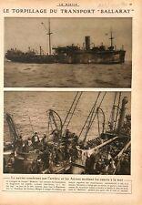 "Torpille Bateau Transport "" Ballarat"" Anzacs d'Australie WWI 1917 ILLUSTRATION"