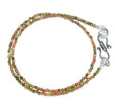 "925 Sterling Silver Unakite Jasper Gemstone 17"" Strand Necklace 2mm Beads YT252"