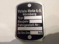 Typenschild victoria ID-plate schild Vicky Moped Mofa Leichtkraftrad s30