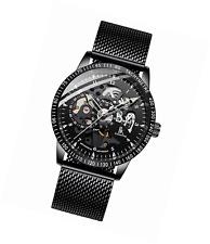 IK Colouring Men Watches, Luxury Business Casual Black Mesh Bracelet Automatic M