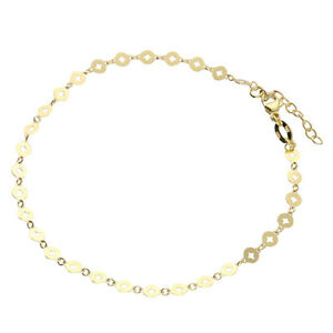 9CT YELLOW GOLD ON SILVER 9 - 10 inch SOLID ANKLET / ANKLE BRACELET