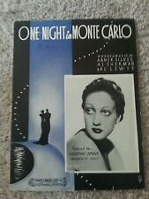 ONE NIGHT IN MONTE CARLO Vintage Sheet Music Dorothy Lamour 1935