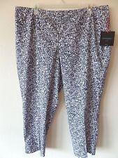 Cynthia Rowley Womens 22W Rayon Nylon Spandex Blue Gray White Pants Ankle New