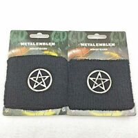 2 Black Fashion Wrist Bands Metal Star Emblem Sweatband Free Shipping