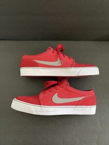 Nike Men's Toki Low Skate Shoes Suede/Textile Red Gray White Size 12