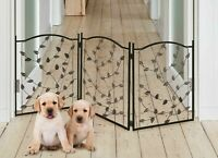 Pet Gate for Dogs Free-Standing Folding Decorative Metal Fence Barrier Doorway