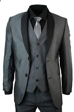 Men Slim Fit Suits Dark Grey Tuxedo 3 Piece Office Wedding Dinner Party Suits