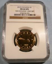 2010 CANADA LOON DOLLAR NGC MS 66 DPL DEEP PROOF LIKE $1 SMALL MAPLE LEAF
