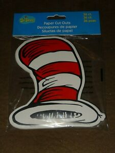 Dr. Seuss Cat In The Hat Paper Cut-Outs-36 Per Pkg-Free Shipping- Eureka-New