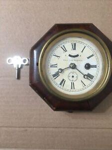 "Small Antique 6"" Octagon Patent Lever Escapement Clock Jerome Welch Era"