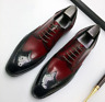 Handmade Mens Wing tip brogue dress shoes, Men two tone formal shoes
