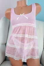 Sophie B Pink Lace sheer camisole nighty top Sz S