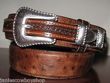 3D GENUINE LEATHER OSTRICH STAMP MENS WESTERN BELT RANGER 1 3/8 RODEO BELT SZ 44