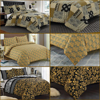 Luxury 100 % Egyptian Cotton Gold & Mustard Printed Duvet Cover Sets ALL Sizes