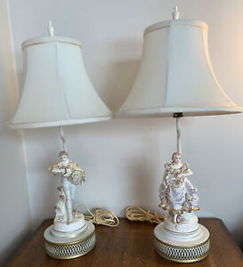 Vintage Porcelain Hand Painted Figurine French Victorian Boy & Girl Lamp Set