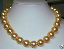 Pretty 8MM Gold Akoya Shell Pearl Necklace AAA 18""