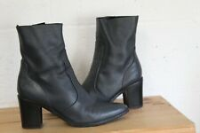 SLATE GREY LEATHER MID HEEL ANKLE BOOTS SIZE 8 / 42 USED CONDITION