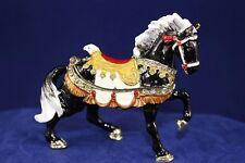 Enameled Pewter  Bejeweled Trinket Box w Treasure Inside - Black Carousel Horse