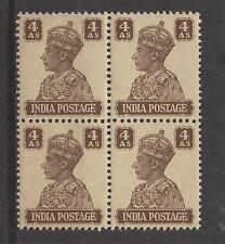 INDIA, BRITISH # 176 MNH KING GEORGE VI  4 ANNA  Block of 4