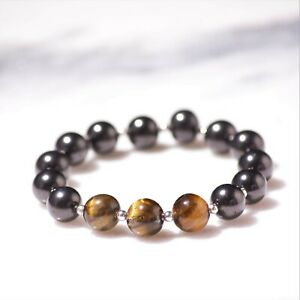 Shungite bracelet made with Tiger Eye and 925 solid silver #Healing & Protection