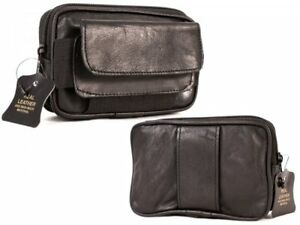Small Real Leather Coin Purse Belt Pouch Camera Phone Money Holder Travel Black