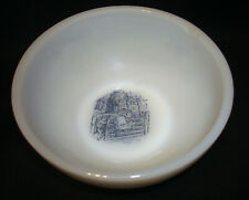 Vintage White Milk Glass Currier & Ives Blue Children by Fence Cereal Chili Bowl