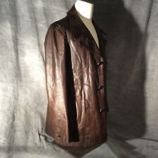 Men's Brown Vintage Leather Jacket 3/4 Length, Brown Buttons